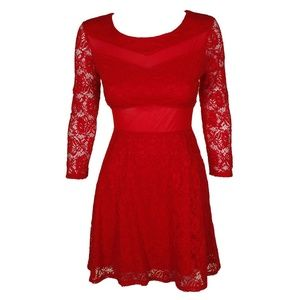 Material Girl Juniors Ablaze Red Long-Sleeve Dress